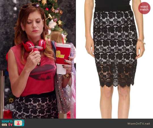 Rebecca Minkoff Angelica Lace Skirt in Black worn by Kate Walsh on Bad Judge