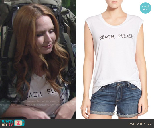 Rebecca Minkoff Beach, Please Muscle Tank worn by Camryn Grimes on The Young & the Restless