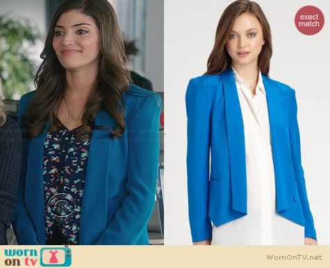Rebecca Minkoff Becky Jacket in Pacific worn by Amanda Setton on The Crazy Ones