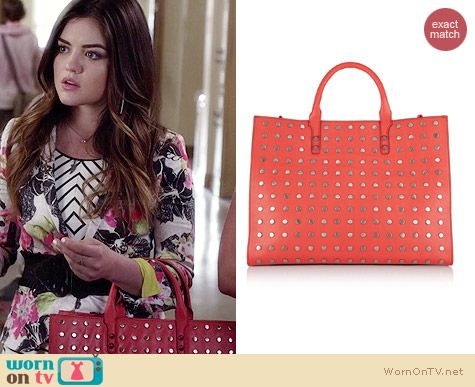 Rebecca Minkoff Grayson Studded Tote worn by Lucy Hale on PLL