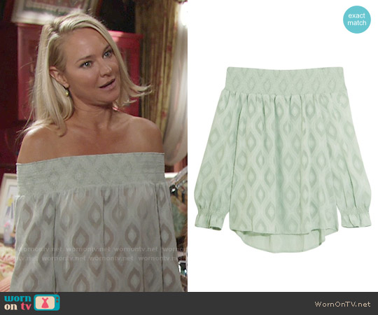 Rebecca Minkoff Atmosphere Top worn by Sharon Case on The Young & the Restless