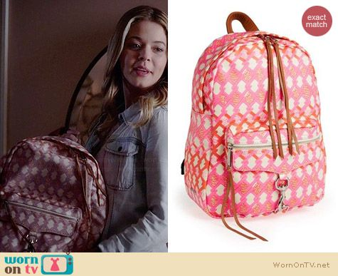 Rebecca Minkoff MAB Backpack in Pink and Orange Print worn by Sasha Pieterse on PLL