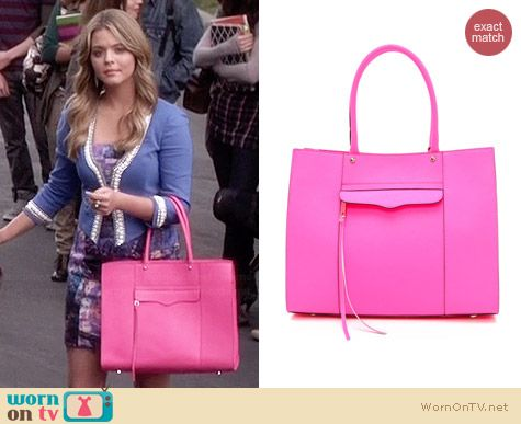 Rebecca Minkoff MAB Medium Tote in Neon Pink worn by Sasha Pieterse on PLL