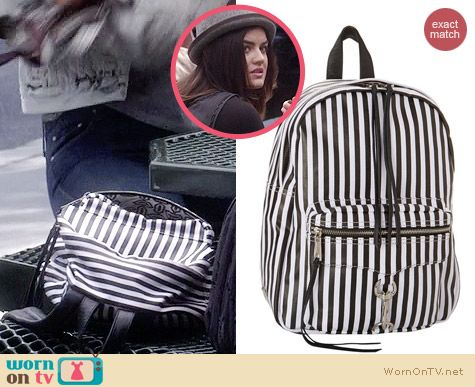 Rebecca Minkoff M.A.B. Striped Leather Backpack worn by Lucy Hale on PLL