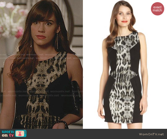 Rebecca Minkoff Moulin Sleeveless Seamed Snow Leopard Dress worn by Christa Allen on Revenge