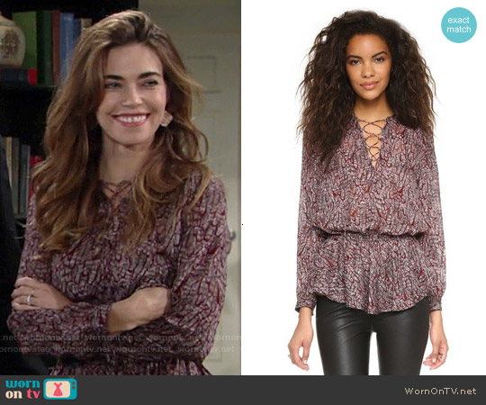 Rebecca Minkoff North Printed Top worn by Amelia Heinle on The Young & the Restless