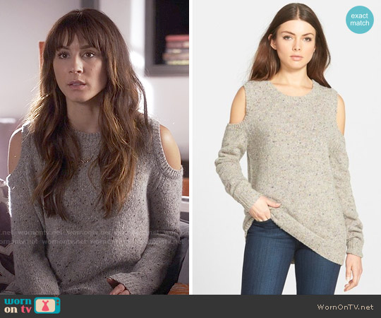 Rebecca Minkoff Page Cold Shoulder Sweater worn by Troian Bellisario on PLL