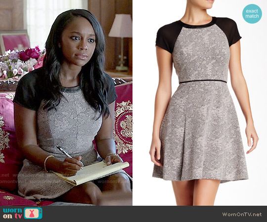 Rebecca Taylor Short Sleeve Genuine Leather Trim Jacquard Dress worn by Aja Naomi King on HTGAWM