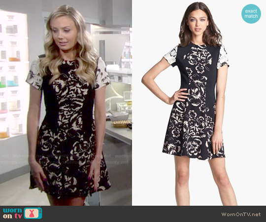Rebecca Taylor 'Artisanal Blocked' Print Silk A-Line Dress worn by Melissa Ordway on The Young & the Restless
