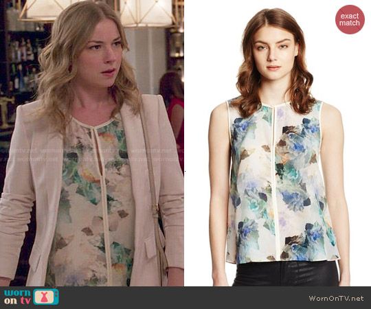Rebecca Taylor Enchanted Gardens Silk Top in Aqua Combo worn by Emily VanCamp on Revenge