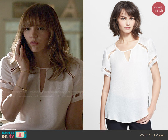 Rebecca Taylor Ladder Stitch Textured Silk Top worn by Katharine McPhee on Scorpion