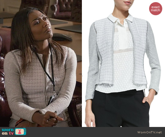 Rebecca Taylor Mixed-Pattern Fitted Tweed Jacket worn by Patina Miller on Madam Secretary