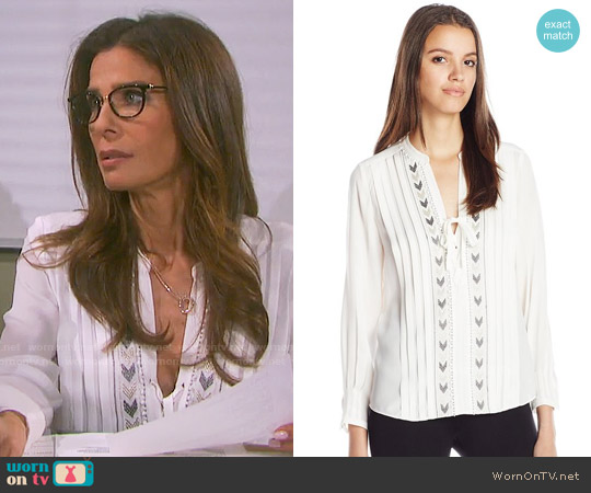 Rebecca Taylor Silk Long-Sleeve Chevron Embroidered Blouse worn by Kristian Alfonso on Days of our Lives