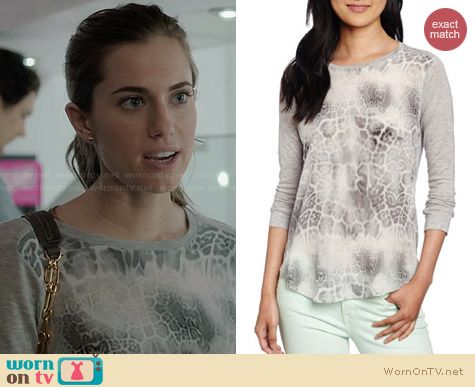 Rebecca Taylor Animal Printed Long Sleeve tee worn by Allison Williams on Girls