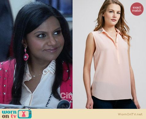 Rebecca Taylor Bead Collar Silk Blouse worn by Mindy Kaling on The Mindy Project