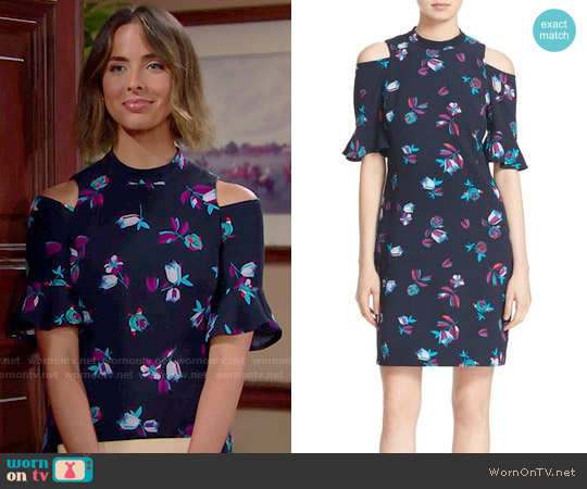 Rebecca Taylor Bellflower Print Cold Shoulder Dress worn by Ashleigh Brewer on The Bold & the Beautiful
