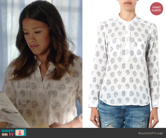 Rebecca Taylor Block-Print Cotton Silk Top worn by Gina Rodriguez on Jane the Virgin
