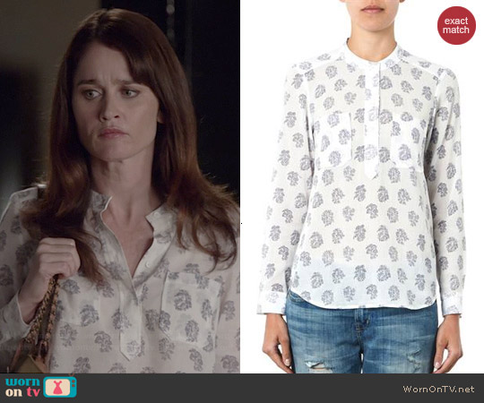 Rebecca Taylor Block Print Cotton Silk Top worn by Robin Tunney on The Mentalist