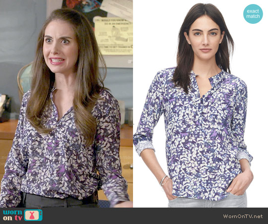 Rebecca Taylor Blossom Print Blouse worn by Alison Brie on Community
