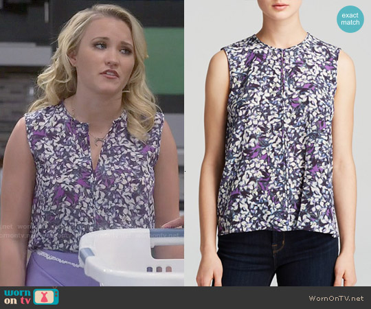 Rebecca Taylor Sleeveless Blossom Print Silk Top worn by Emily Osment on Young & Hungry