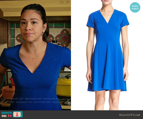 Rebecca Taylor Short Sleeve Fit and Flare Dress worn by Gina Rodriguez on Jane the Virgin