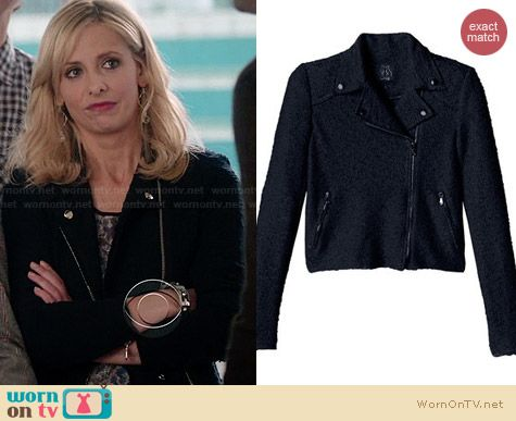 Rebecca Taylor Boucle Moto Jacket worn by Sarah Michelle Gellar on The Crazy Ones