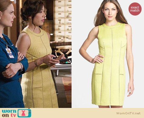 Rebecca Taylor Brocade Dress with Cutout Insets worn by Michaela Conlin on Bones