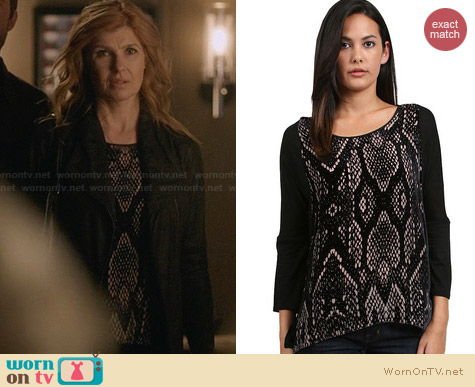 Rebecca Taylor Burnout Slouchy Python Print Top worn by Connie Britton on Nashville