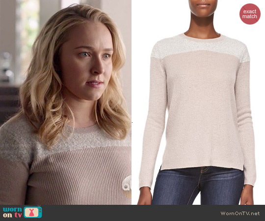 Rebecca Taylor Cashmere Fuzzy-Yoke Pullover Sweater worn by Hayden Panettiere on Nashville