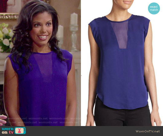 Rebecca Taylor Charlie Silk Top in Viola Shock worn by Karla Mosley on The Bold & the Beautiful