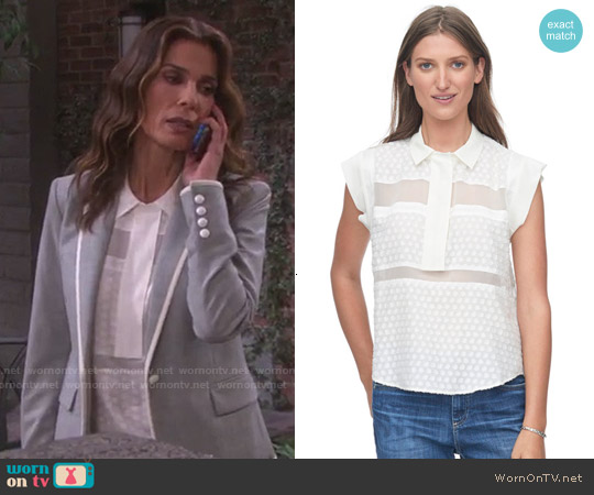Rebecca Taylor Clip Collar Top worn by Kristian Alfonso on Days of our Lives