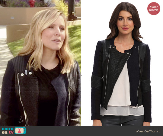 Rebecca Taylor Combo Moto Jacket worn by Kristen Bell on House of Lies