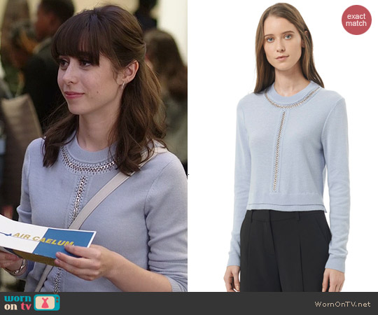 Rebecca Taylor Crop Chain Pullover in Icy Blue worn by Cristin Milioti on A to Z