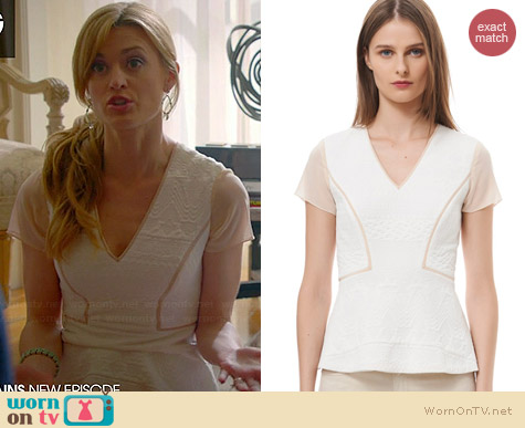Rebecca Taylor Diamond Jacquard Peplum Top worn by Brooke D'Orsay on Royal Pains