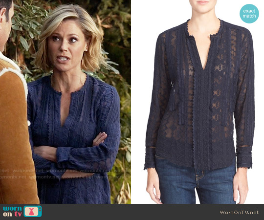 Rebecca Taylor Embellished Silk Chiffon Top worn by Julie Bowen on Modern Family