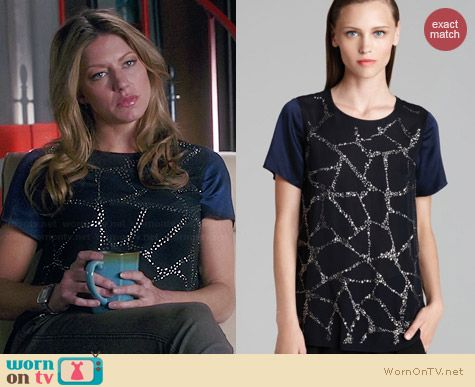 Rebecca Taylor Embellished Faceted Silk Tee worn by Jess Macallan on Mistresses