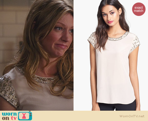 Rebecca Taylor Embellished Silk Tee worn by Jess Macallan on Mistresses