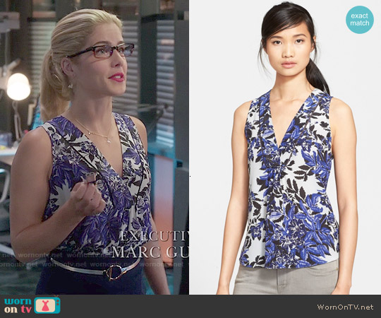 Rebecca Taylor Flame Sleeveless V-neck Top worn by Emily Bett Rickards on Arrow