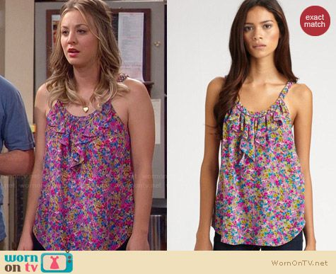 Rebecca Taylor Floral Camisole worn by Kaley Cuoco on The Big Bang Theory