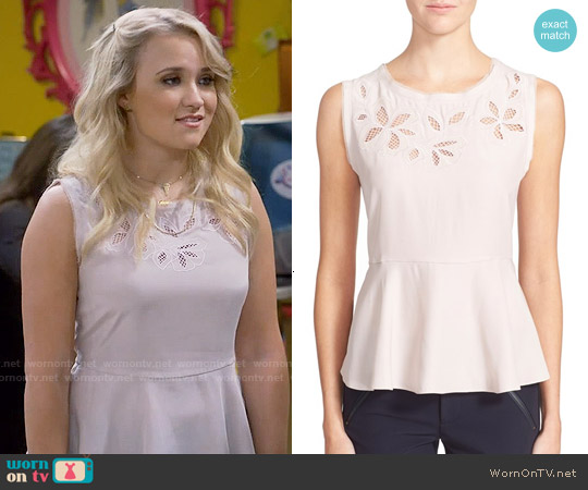 Rebecca Taylor Floral Cutout Top worn by Emily Osment on Young & Hungry