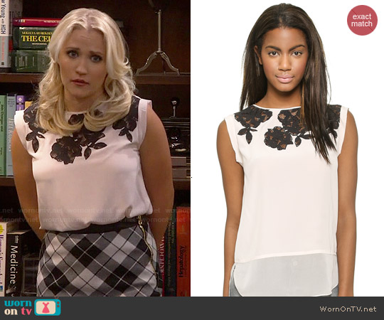 Rebecca Taylor Floral Lace Applique Top worn by Emily Osment on Young & Hungry