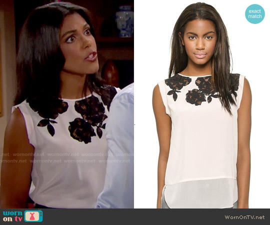 Rebecca Taylor Floral Lace Applique Top worn by Karla Mosley on The Bold & the Beautiful