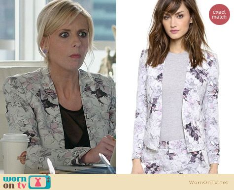 Rebecca Taylor Floral Print Blazer worn by Sarah Michelle Gellar on The Crazy Ones