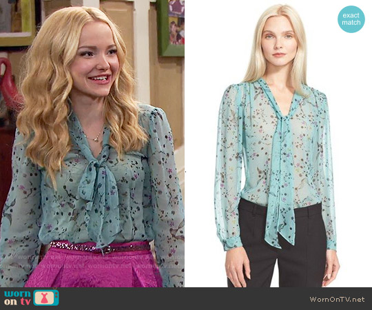 Rebecca Taylor Floral Print Tie Neck Top worn by Dove Cameron on Liv & Maddie