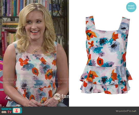 Rebecca Taylor Floral Ruffle Top worn by Emily Osment on Young & Hungry