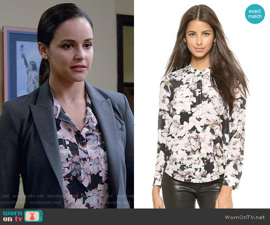 Rebecca Taylor Frost Flower Blouse worn by Melissa Fumero on Brooklyn Nine-Nine