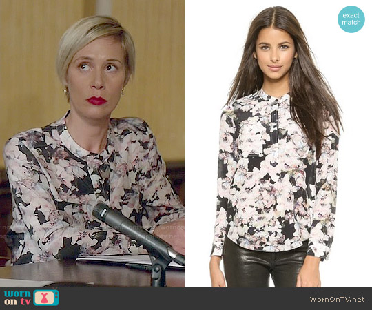 Rebecca Taylor Frost Flower Double Placket Top worn by Liza Weil on HTGAWM