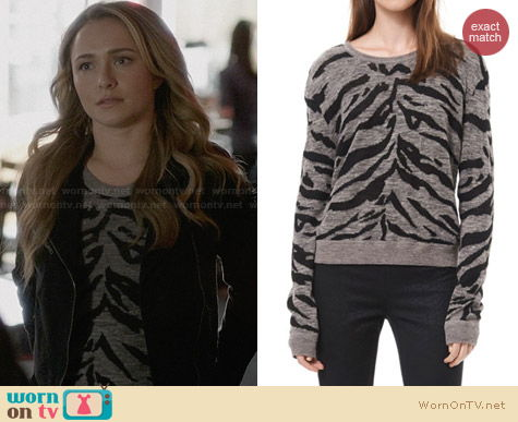Rebecca Taylor Grey Zebra Stripe Pullover worn by Hayden Panettiere on Nashville