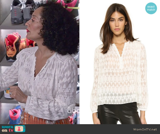 Rebecca Taylor Ice Cap Top in Snow worn by Tracee Ellis Ross on Blackish