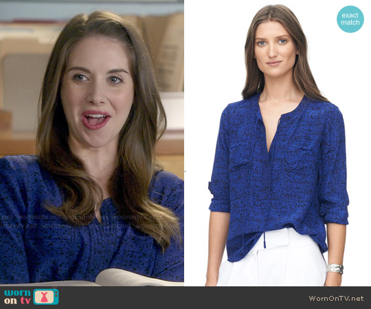 Rebecca Taylor Ink Dot Double Pocket Top worn by Alison Brie on Community